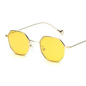 Yellow Tinted Hexagon Aviator Sunglasses